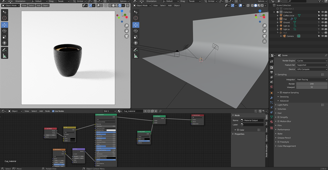 behind the scenes of a blender 3d render featuring a minimalistic coffee mug