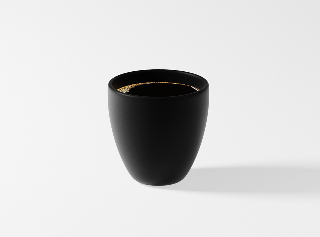 black matte coffee cup with a ceramic texture on white background