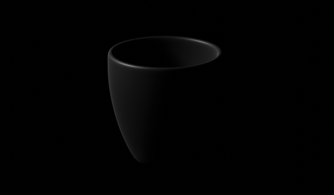 matte black coffee mug in black with a low light
